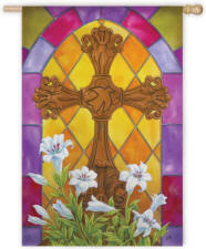 Stained Glass Cross Easter House Flag