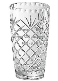 Personalized 10 in. Medallion Crystal Vase