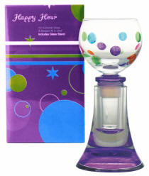 Purple Painted Bottle Stopper / Cordial Glass