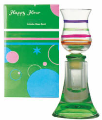 Green Happy Hour Bottle Stopper / Cordial Glass