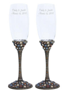 Personalized Ornate Multi Color Champagne Glass