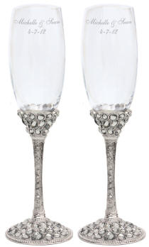 Personalized Ornate Clear Stones Champagne Glass