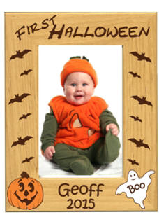 Personalized First Halloween Hardwood Photo Frame