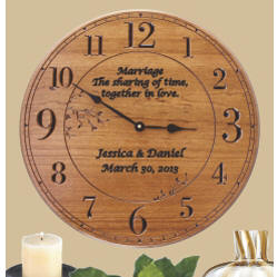 Personalized 17 in. Round Wood Clocks