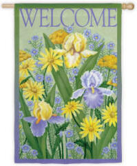 Iris Welcome Decorative House Flag