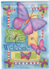 Welcome Butterflies Decorative House Flag
