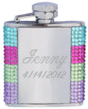 Personalized Colored Crystal Dazzle Flask