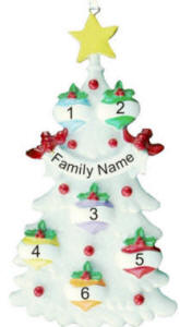6 Name Glitter Tree Christmas Ornament