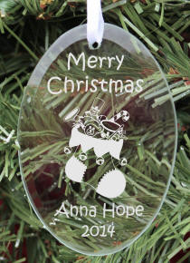Personalized Oval Glass Children's Christmas Ornament