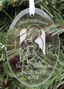 Personalized Oval Glass Baby's Christmas Ornament
