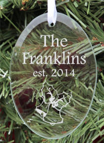 Personalized Oval Glass Family Christmas Ornament