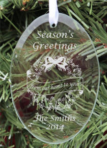 Personalized Oval Glass Our House To Yours Christmas Ornament