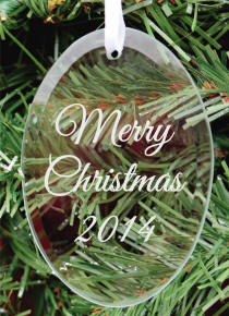 Oval Glass Merry Christmas 2015 Ornament