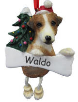 Jack Russell Dangling Dog Ornament