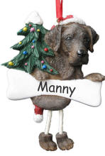 Labrador Chocolate Dangling Dog Ornament