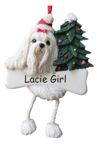 Maltese Dangling Dog Ornament