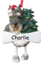 Schnauzer Cropped Dangling Dog Ornament