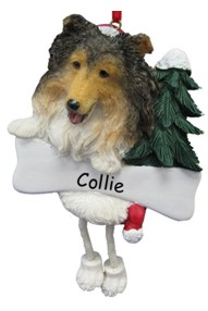Sheltie Dangling Dog Ornament