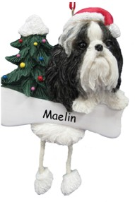 Shih Tsu Black & White Dangling Dog Ornament