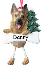 German Shepherd Dangling Dog Ornament