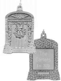 Happy Holidays Door Pewter Ornaments