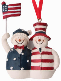 Patriotic Snowman Couple with Flag