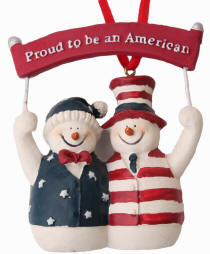 Proud Patriotic Snowman Couple
