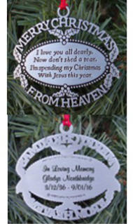 Personalized Merry Christmas from Heaven Memorial Ornament