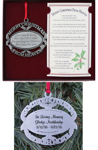 Personalized Merry Christmas from Heaven Memorial Ornament - Keepsake Memorial Christmas Ornaments