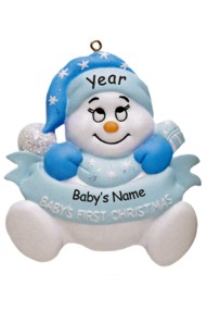 Personalized Blue Baby's First Christmas Ornament