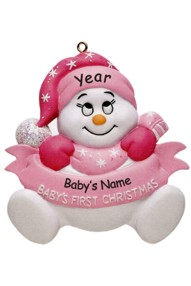 Personalized Pink Baby's First Christmas Ornament