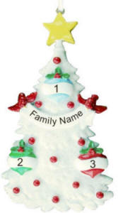 3 Name Glitter Tree Christmas Ornament