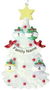 4 Name Glitter Tree Christmas Ornament