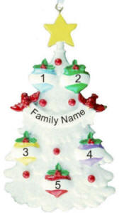 5 Name Glitter Tree Christmas Ornament
