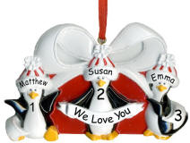 Penguin Packages Family of 3 Ornament