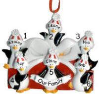 Penguin Packages  Family of 6 Christmas Ornament