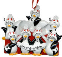 Penguin Packages Family of 7 Christmas Ornament
