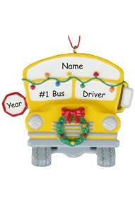 Personalized School Bus Driver Christmas Ornament