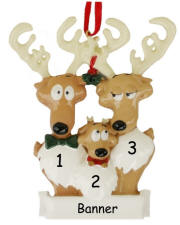Reindeer Family of 3 Christmas Ornament