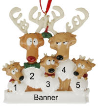 Reindeer Family of 5 Christmas Ornament