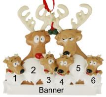 Reindeer Family of 6  Christmas Ornament