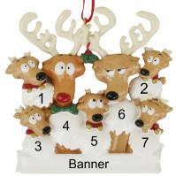 Reindeer Family of 7 Christmas Ornament