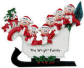 Sleigh Family of 6 Christmas Decoration