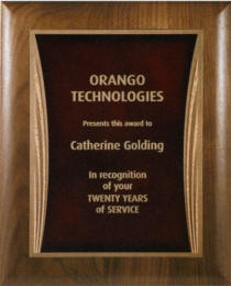 7 x 9 Laser Etched Walnut Award Plaque