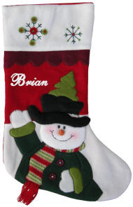 Waving Snowman Stocking