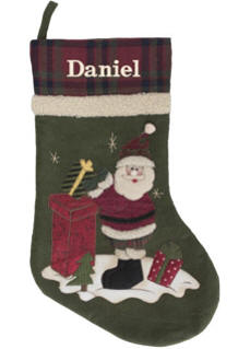 Olive Plaid Top Christmas Stocking