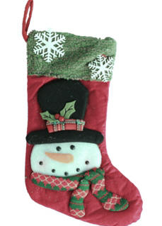 20 in. Lighted Snowman Stocking Red