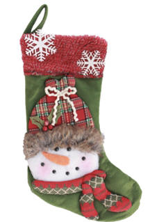 20 in. lighted Snowman Stocking Green