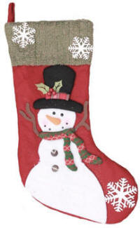 30 in. Lighted Snowman Stocking Red