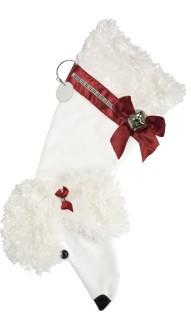 Personalized White Poodle Christmas Stocking